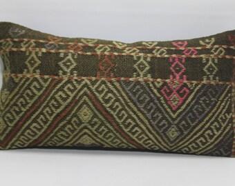 12x24 throw pillow embroidered kilim pillow 12x24 decorative kilim pillow home decor lumbar pillow turkish kilim pillow  671