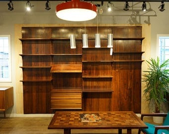 308-028 Danish Mid Century Modern Rosewood Wall System by Poul Cadovius
