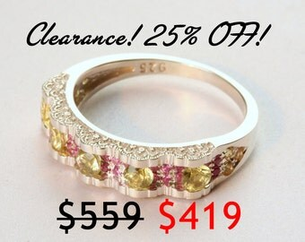 CLEARANCE 25% OFF! Unique Lace Silver Sapphire Ring, Pink Sapphires, Sapphire Wedding Band, Sapphire Wedding Ring, Size 6.75