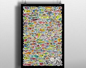 """Original artwork ink and watercolor """"FISH"""""""