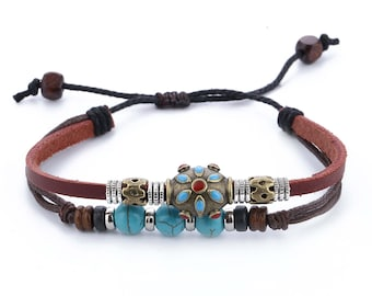 Leather Bracelet // Turquoise Bracelet // Hippie Bracelet // Tribal Bracelet // Gypsy Leather Bracelet For Woman // hippy Leather Bracelet