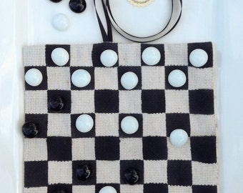 Hand made Roll-Up Checkers Board