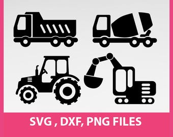 "Instant Download,  Construction trucks, dump truck svg, Tractor Silhouette,  SVG, DXF, PNG Formats,  8.5x11"" sheet,  Printable 0045"