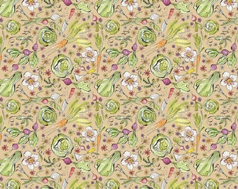 Garden Girls - Per Yd - Cori Dantini - Blend Fabrics - SEWWW Cute! Vegggies on shell