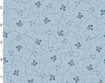Poppies - Per Yd - Maywood Studio by Rachel Shelburne - Small Floral on Blue