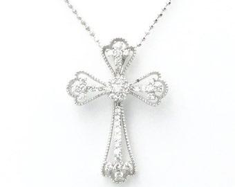 "37 Round Diamond 18Kt White Gold Ladies Cross Pendant on a 16"" 14Kt White Gold Chain"