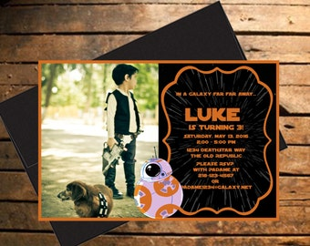 Downloadable Star Wars BB-8 Themed Birthday Invitation with Photo