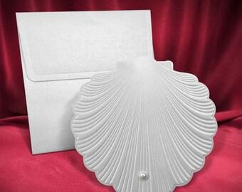 Nautical wedding invitation pearl shell | Free shipping