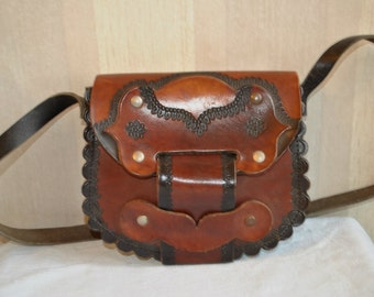 Vintage solid genuine brown leather shoulder bag messenger bag