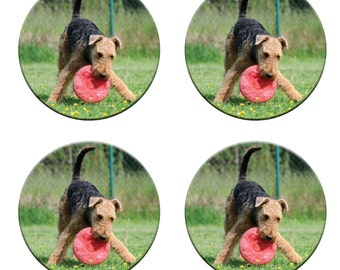 A pack of 4 AIREDALE DOGS weights Ideal for weighing down patterns on delicate fabrics no need for pins like TV sewing Bee