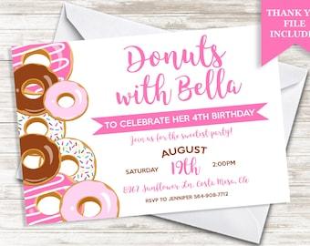 Donuts Birthday Invitation Invite Girls Sprinkle Doughnuts 7x5 Digital Kids Party Personalized ANY AGE
