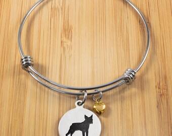 Boston Terrier Bracelet | Stainless Steel Adjustable Bangle Bracelets | Dog Bracelets | Dog Jewelry