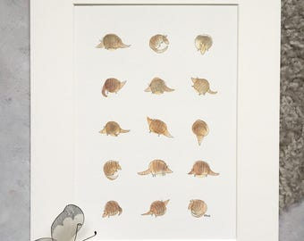 Armadillos - baby shower animal art, quirky, nursery, home decor - unframed print