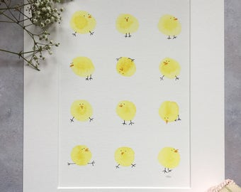 Chicks - baby shower animal art, quirky, home decor, affordable art, nursery art - unframed print