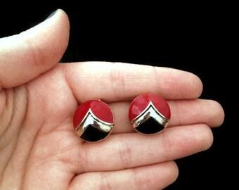 Clip on Earrings - 1980s Earrings - Vintage - Earrings - Red and Black - Jewelry - Jewellery - Gift for Her -Antique Earrings - Black