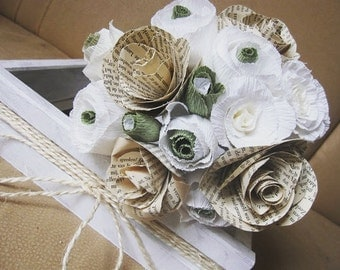 Bridal Wedding Paper Bouquet 15pcs, vintage paper flower, bridesmaids bouquet, crepe paper flowers