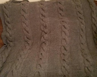 Handmade knitted Chunky  Cable Blanket