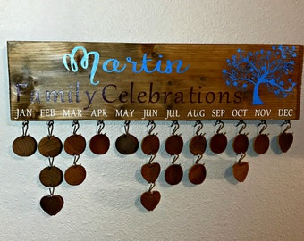 Family Birthday Sign - Family Celebrations Sign - Family Sign - Family Birthday Calendar - Birthday Board - Family Celebrations Calendar