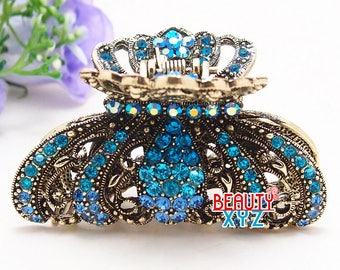 blue Crystal high quality Metal Imperial crown Hair Claw Clip Pin
