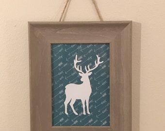 Woodland nursery, Deer silhouette on teal, ash barn wood 5x7 frame