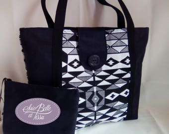 "Large bag Tote in black and white jacquard fabric and Black Suede with zipped package ""Navajo"""