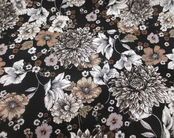 Black & Grey Noir Flowers, Floral 100% Viscose Summer Printed Dress Fabric.