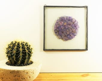 Ball Hydrangea Botanical - Pressed, dried hydrangea florets are placed between glass, sealed and framed in leadlight.
