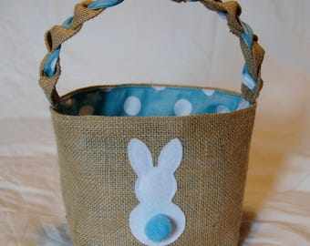 Hessian Easter egg basket with blue and white spotted lining and a cute Easter bunny decoration, handcrafted with love