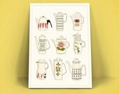 Retro Vintage Poster A4 Art Print - Koffiekannen -
