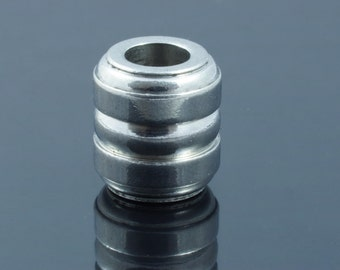Stainless Steel Large Hole Column Beads.  13x12mm.  Hole 6mm