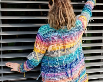 BOHO sweater,  Fringes  sweater,   Psychedelic Knitwear,  Colorful cardigan,  Chunky winter knitwear, Hand knit sweater, OOAK  Ready to ship