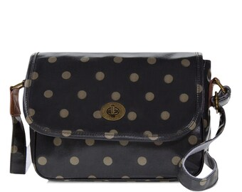 Oilcloth Crossbody bag - Polka dot bag - Ladies Purse - Ladies Handbag - Satchel- Oilcloth bag- Oil cloth Turnlock bag- Laminated cotton