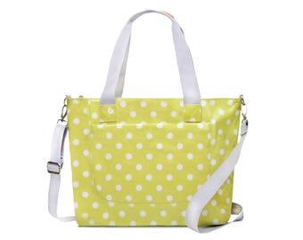 Oilcloth College computer bag - Polka dot Crossbody bag - Oilcloth ladies purse - Teen girl laptop computer bag - Oil cloth waterproof Tote