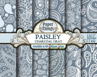 Charcoal Gray Paisley, Digital Paper Pack Gray Paisley Scrapbook Paper - Gray and White Patterns Printable Scrapbook Printable Download