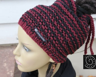 Dreadmütze, dread hats, dread Slouchy Rasta Hat black red striped