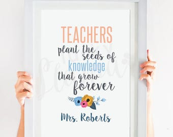 Teacher Gift, Personalized Teacher Printable, Teacher Appreciation Gift, Teacher Digital File - 8x10