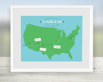 Custom Usa Road Trip Map Route 66 Travel Map North America Travel Map