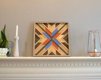 Wood wall art, brown/blue/orange/gold, burst, flower, decor, panel, pine, cedar, lath 18in x 18in