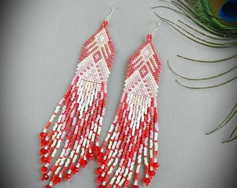 Handmade seed bead earrings with fringe Dangle earrings Boho earrings summer earrings