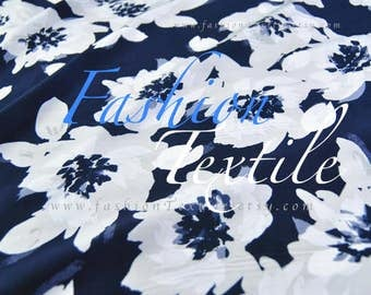 Blue Georgette Floral Fabric Blouse fabric