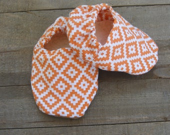 Baby booties, Gender neurtral baby shoes, orange and white soft sole baby shoes, baby boy shoes, baby girl shoes