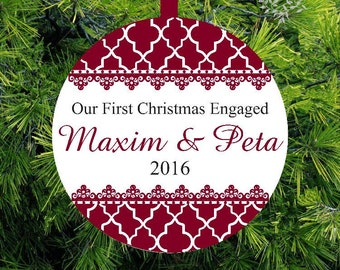 Our First Christmas Engaged |  Lovebirds Tree Ornament | Personalized Engagement Gift | First Christmas Ornament | Couples Gift - CO-ML-2