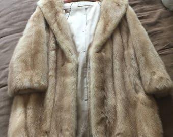 Vintage Fur Coat- 1960's- fur jacket- the broadway southern california- Vintage fur- white fur coat- side pockets - double lining- vintage