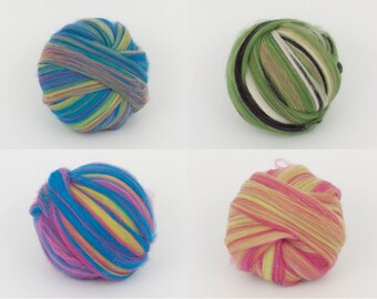 Choice for 22mic merino multi-color tops. 50gr (1.76oz) For needle felting, wet felting, spinning, roving for felting. 100% wool.