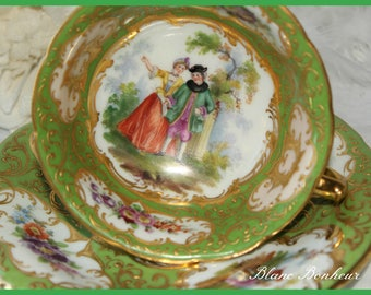 RK Dresden, Germany: Antique green hand painted tea cup and saucer