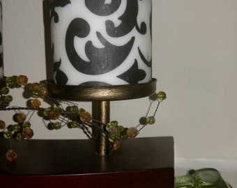 Black and White Damask Home Decor Candle