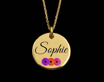 NAME NECKLACE, gold name necklace, gold disc pendant, gold disc name pendant, personalised pendant, gold disc name necklace