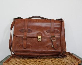 Vintage Brown Leather Messenger Bag / Laptop Bag / Shoulder Bag / Leather Satchel