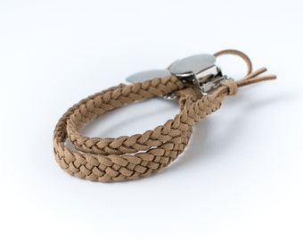 Braided Suede Leather Pacifier Clip | Tan
