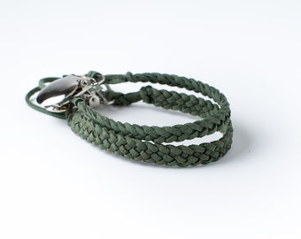 Braided Suede Leather Pacifier Clip | Forest Green